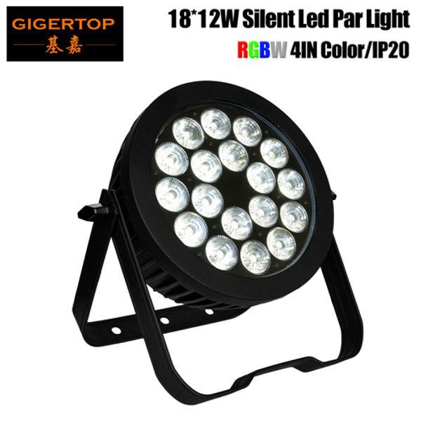 Gigertop TP-P103B DMX LED Par Light RGBW Strobe Party Disco Show Stage Flash Light 18x12W 110V-240V Cubierta interior de aluminio