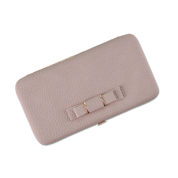 Women's Wallet Japan and Korean Style Long PU Leather Clutch HandBag Large Capacity Bow Mobile Phone Purse Bag for Gift Party
