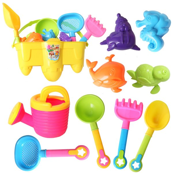 10pcs Outdoor Beach Toys Set Fun Castle Bucket Sand Molds Shovel Rake Watering Can For Pools Water Sand Toys for Kids Child