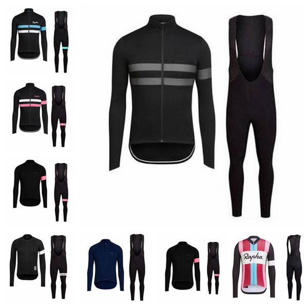 Equipamentos de bicicleta RAPHA equipe Ciclismo de mangas compridas jersey conjuntos de calças jardineiras Respirável secagem Rápida / Slim fit zipper personalizável 61001X