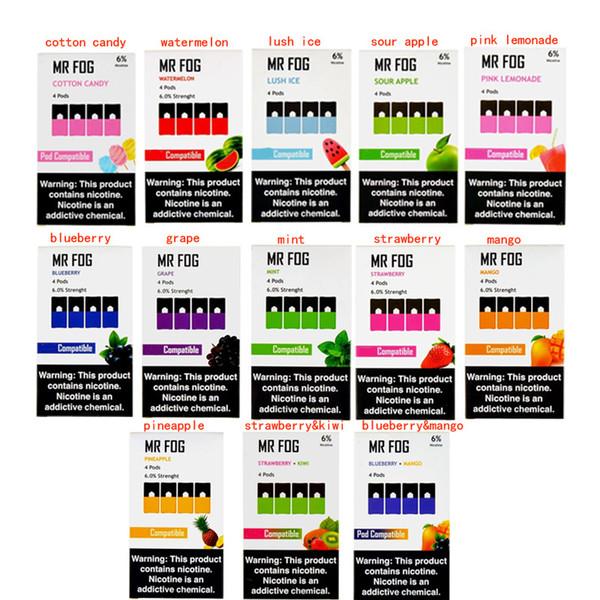 13 Sabores MR FOG Pods cartuchos de 1,0 ml a Apple Mango Blueberry Lush Ice Compatível vazio Ju Puff Bar Vgod Stig Gem Pods