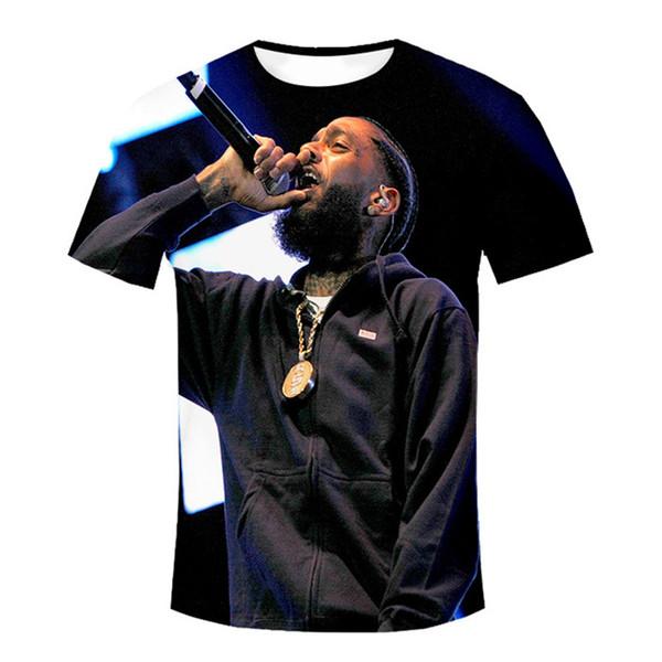 Créateur de mode Mens T-shirts Rappeur Nipsey Hussle Souvenir Crenshaw Plaine Noir 3D Imprimer