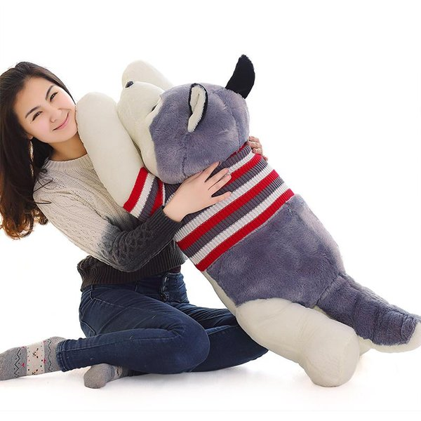 55cm Siberian Husky Dog Stuffed Animal Collectible Plush Toys Pillow Car Decoration Cute Baby Valentine's Day Gifts Hot Toys Dolls