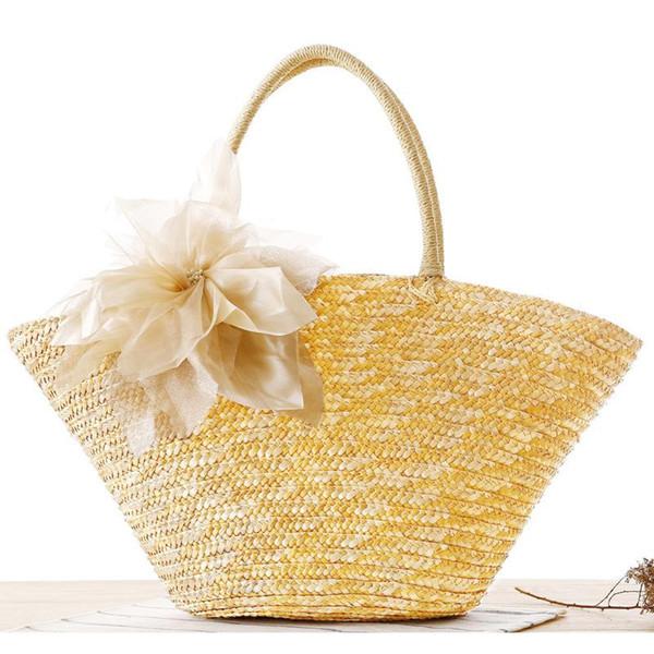 Bolsa de playa de verano de las mujeres de paja tejida flor bolsas de asas 2017 mujer estilo bohemio bolsos de diseñador bolsos de alta calidad