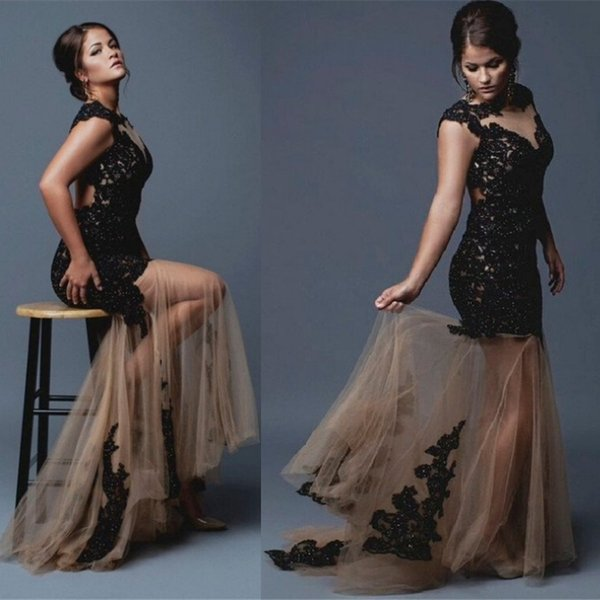 Sexy Mermaid Prom Dresses Open Back New 2019 Dubai Style Black Sequins Appliques With Champagne Tulle Skirt Plus Size Evening Party Gowns