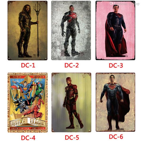 Commercio all'ingrosso DC Comics eroe segni di metallo Tin Painting Home Decor Poster Crafts Supplies Wall Art Immagine 20 * 30 cm Bar, Cafe, KTV Wall Decor