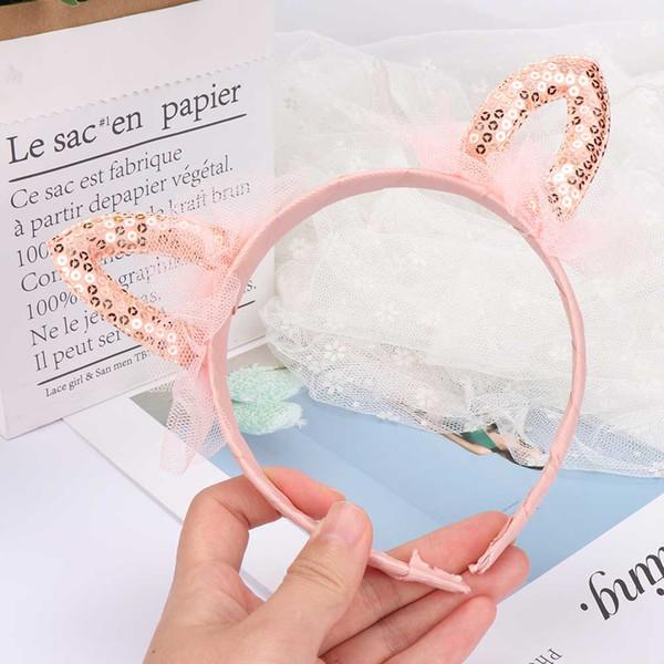 Dulces lindos niños orejas de gato lentejuelas brillantes corona diadema princesa diadema encaje niños niñas accesorios para el cabello para fiesta de cumpleaños