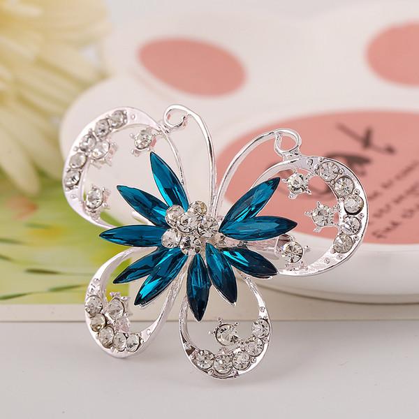 Broches de mariposa de esmalte Broche de insectos de diamantes de imitación chapados en oro Pernos ahuecados Joyas de moda Regalos para mujeres