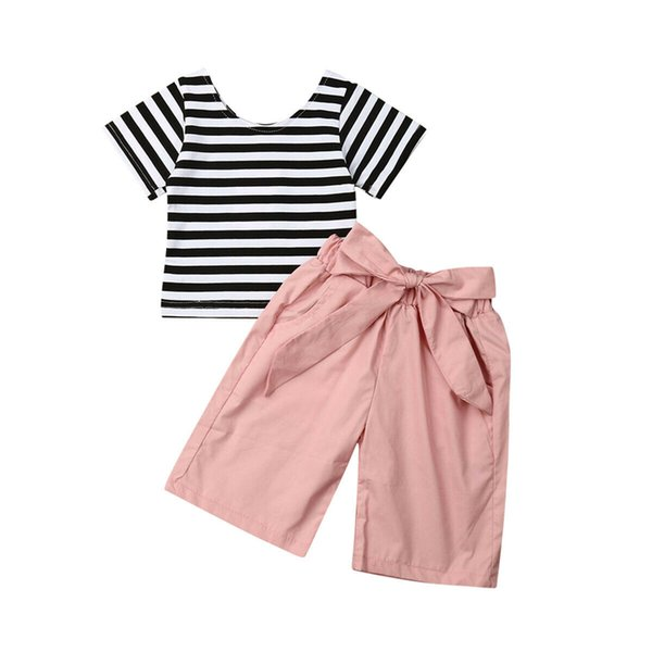 Striped T shirt Summer Classic Match Clothes set Toddler Kids Baby Girl Cotton Clothes T-shirt Tops+Long Pants Summer Outfits