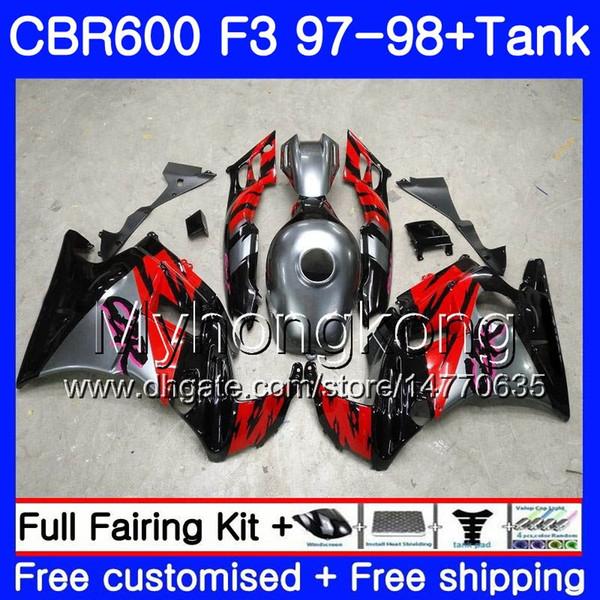 Corpo + Tanque Para HONDA CBR 600 F3 CBR600RR CBR 600F3 97 98 290HM.0 CBR600 F3 97 98 CBR600FS CBR600F3 1997 1998 Carenagem Preto prateado vermelho