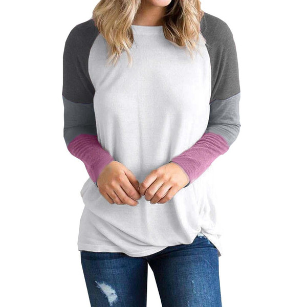 Autumn 2018 Womens shein Long Sleeve Tie Pullover Ladies Casual Color stitching Round neck hoodie Holiday Sweatshirt top