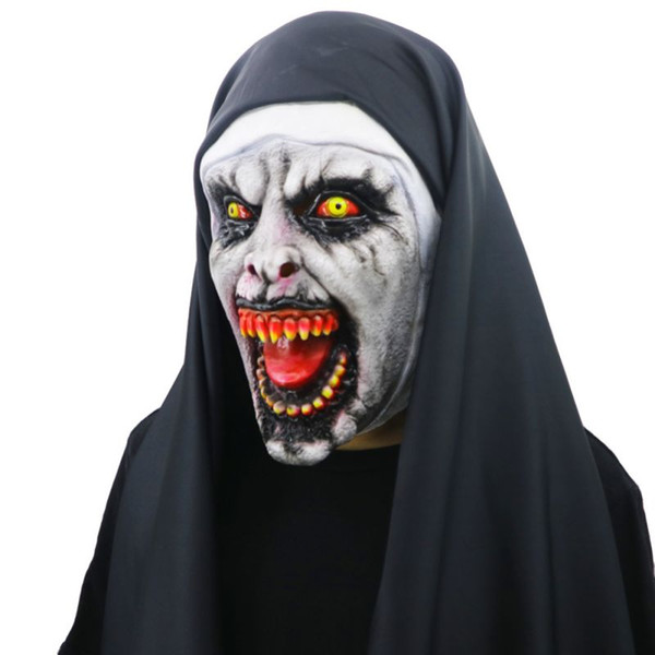 Best Selling The Nun Horror Mask Cosplay Valak Scary Latex Masks with Headscarf Full Face Helmet Halloween Party Props New Fashion Costumes