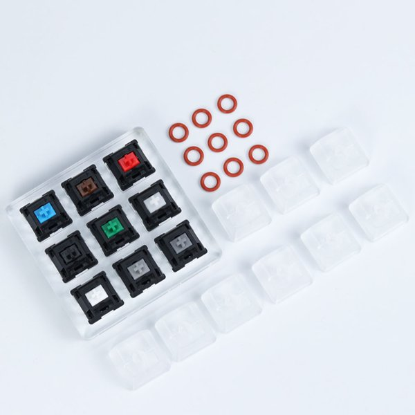 Switch Tester cherry kailh gateron Zealio switches Sampler Mechanical Keyboard acrylic base Translucent Keycaps Testing