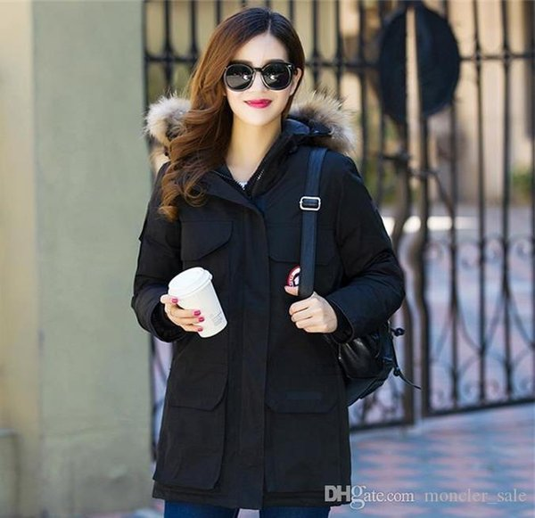 2019 Women Femme Outdoors Fur Down Jacket Hiver Thick Warm Windproof Canada Down Coat Thicken Fourrure Hooded Jacket Manteaus Doudoune
