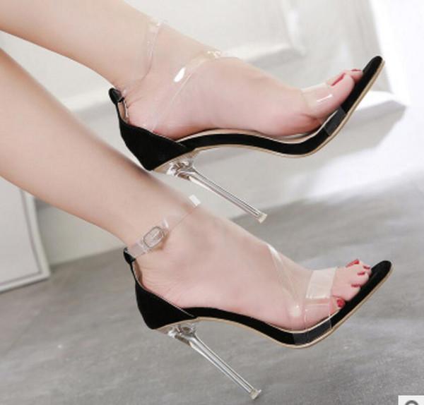 Nuovo stile Stage Performance Crystal Successivo Sandali con i tacchi alti da night club, scarpe da ballo da party sexy di grandi dimensioni