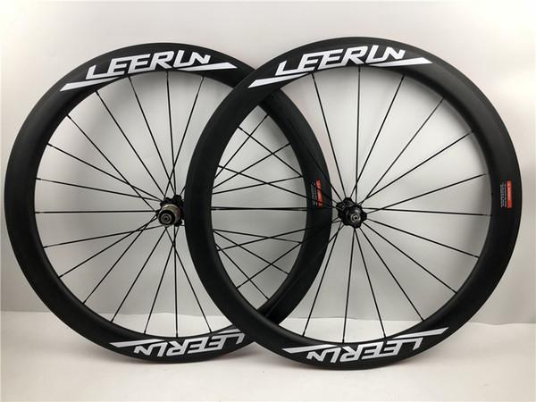 Juego de ruedas de carbono LEERUN bicicletas 700c 50mm OEM ruedas de carbono para ruedas de bicicleta de carretera Ulatra light novatec hubs 23mm de ancho llantas de carretera