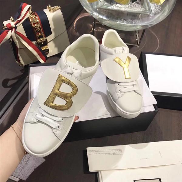 2019 Nouveau cuir véritable Flats designer chaussures de sport femmes et hommes occasionnels chaussures et hommes de luxe chaussures d'abeille, abeille, chiens, tigres a