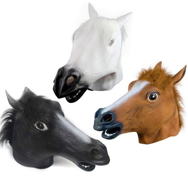 Horse head mask cosplay masquerade funny evil fun Halloween horse head mask hood dog horse free shipping