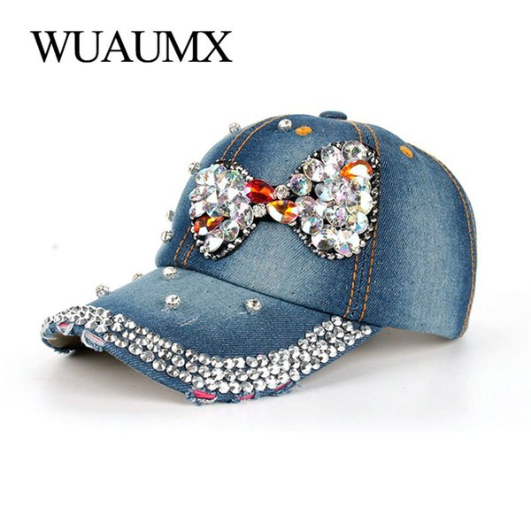 Béisbol Wuaumx buenas mujeres de la calidad de los casquillos del Rhinestone de Bling del taladro de la pajarita de cristal Cap dril de algodón visera de Hip Hop del casquillo del Snapback Mujer