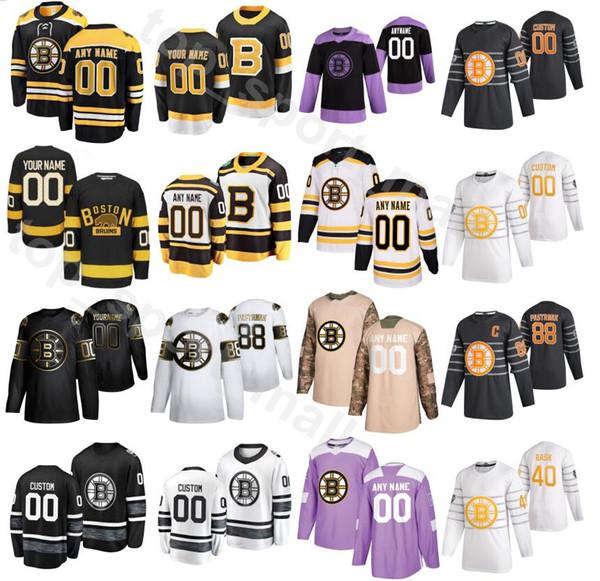 Golden Edition Ice Hockey Boston Bruins 73 Charlie McAvoy Jerseys Men 40 Tuukka Rask 42 David Backe 46 David Krejci 88 David Pastrnak