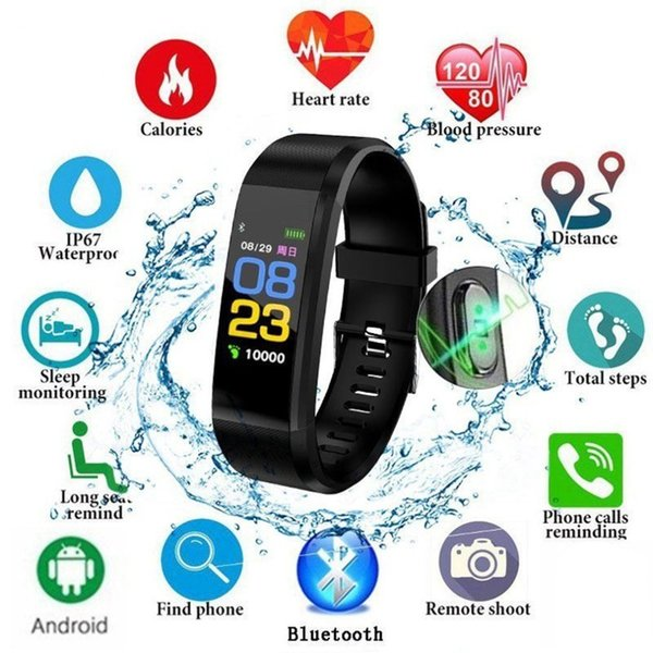 115 Plus Smart Watch Waterproof bracelet Heart Rate Monitor Blood Pressure Fitness Tracker Sport band for android Smartband