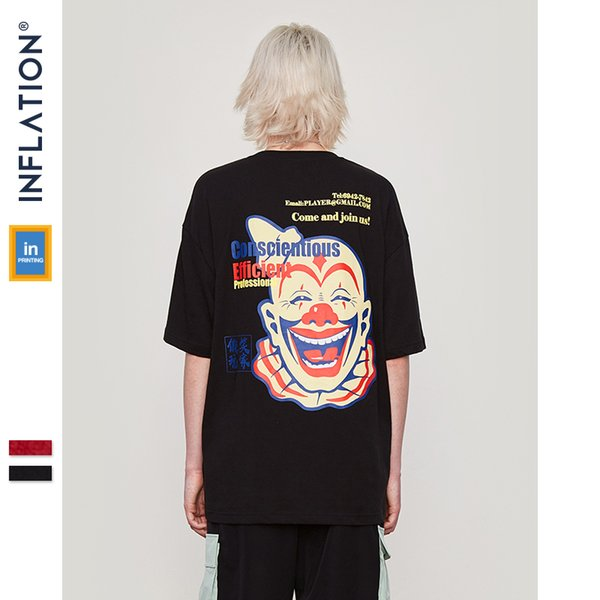 Inflation 2019 New Summer High Street T Shirt Men Clown Printed Funny Tshirt Men's Cotton Hip Hop Clothing Tees Loose 91337s C19041901