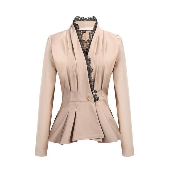 YUSHU Fashion Autumn Women Formal Blazer Jackets Office Work Slim Fit Blazer Lace V-neck Ladies Business Casual Blazers