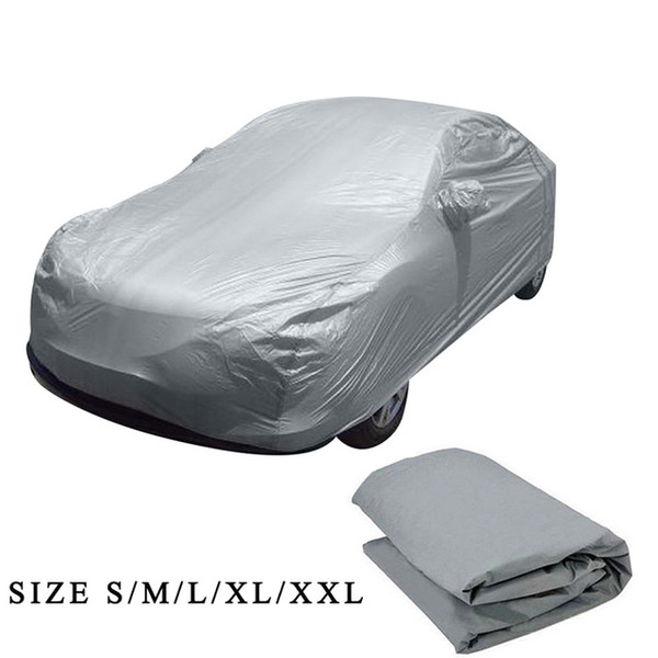 Universal Full Car Covers Snow Ice Dust Sun UV Shade Cover Light Silver Size S-XL Auto Car Outdoor Protector Cover