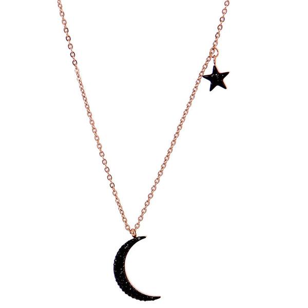 Kein verblassen Berühmte Marke Edelstahl stern mond mode choker kette roségold Anhänger Halsketten Frauen Hochzeitsgeschenk