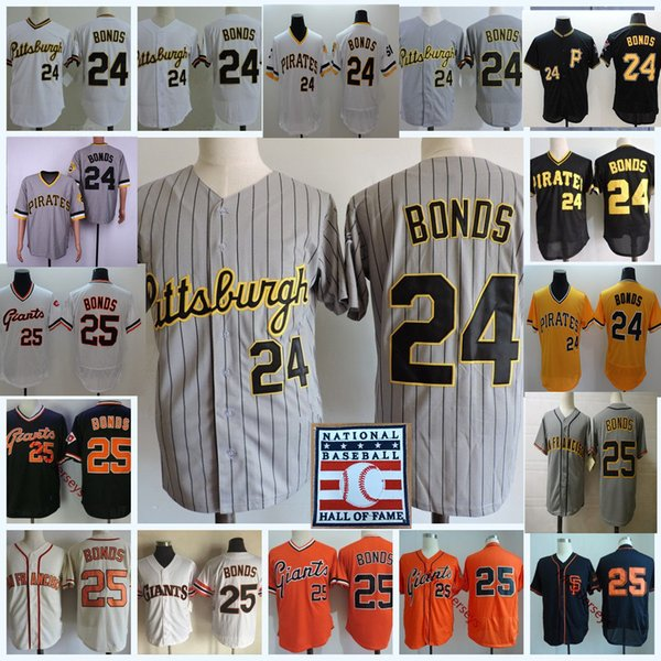 Mens #24 Barry Bonds Pittsburgh HOF patch Jerseys stitched white gold Grey #25 Barry Bonds San Francisco Jersey S-3XL