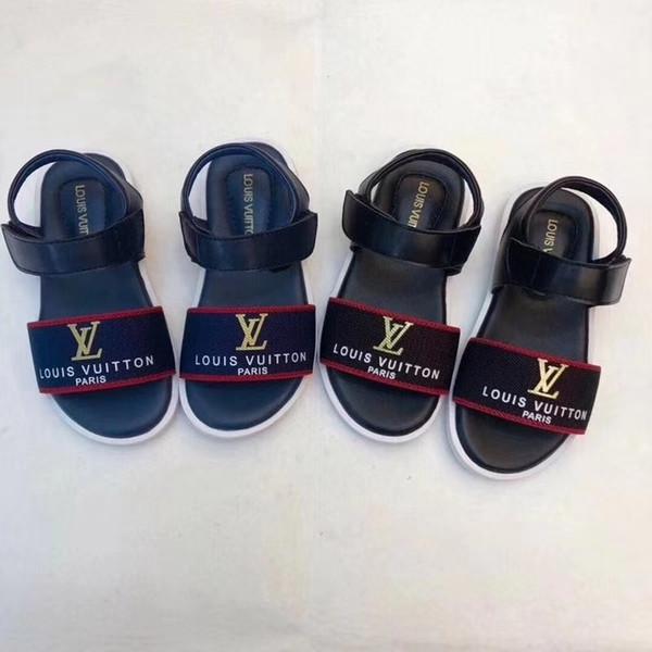 Лето новые кожаные сандалии дети S блестки плоские с корейский стиль дети пляж сандалии 0701