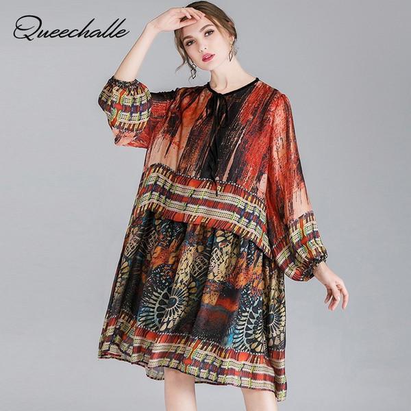 2019 Spring XL - Vestido de hilo de seda de talla grande 4XL Vestidos elegantes con cuello de encaje sueltos para mujeres Midi estampado vintage Patchwork