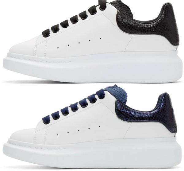 Tasarımcı Erkek Kadın Sneaker Rahat Ayakkabılar Moda Akıllı Platformu Eğitmenler Aydınlık Floresan Ayakkabı Yılan Geri Deri Chaussures ...