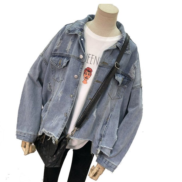 Student Vintage Irregular Jeans Jacket Loose Long Sleeve Women Basic Coat Autumn Streetwear Harajuku Denim Jackets SH190905