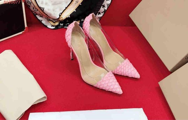 Summer new style girl high heels with rubber Snakeskin grain transparent sexy crystal sandals High heel with sharp tip