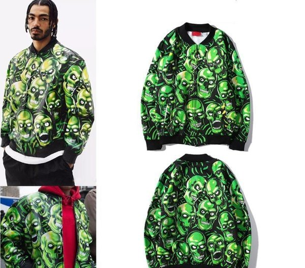 Skull pile mens designer fleece winter coats windbreaker unisex streetwear baseball jacket green skull zipper mens jackets and coats