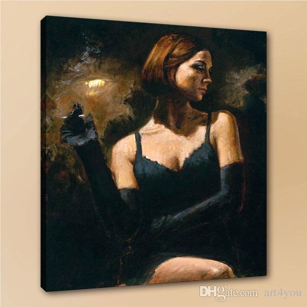 High Quality Fabian Perez Black Gloves Girl Portrait Handpainted & HD Print oil painting,Home Decor Wall Art On Canvas p91