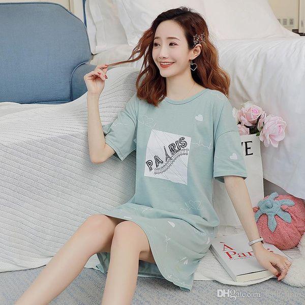 YF457 cotone di estate camicia a maniche corte pigiama versione coreana del servizio a domicilio abito lungo allentato