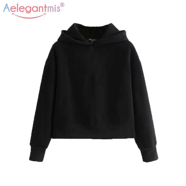 Aelegantmis Spring Classic Black Fleece Mujeres Sudadera con capucha Casual Jerseys cortos y sudaderas Señoras gris Hoodies Tops