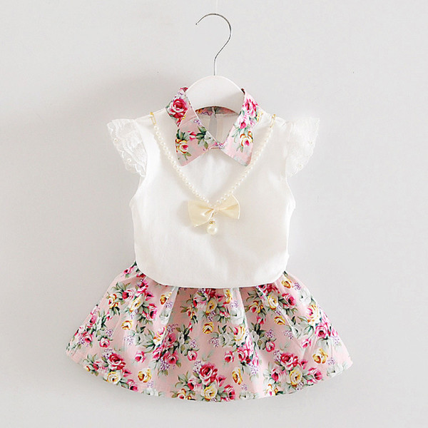 Toddler Girl Outfits 2019 Summer Baby Clothing Set Lace Short Sleeve Tops Floral Dress Two Piece Suit for Girls 1 2 3 4 Years