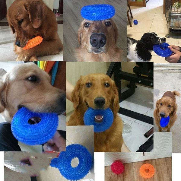 Pet supplies large dog golden hair thorn tpr clean teeth molar bite environmental protection sound tire toy multicolor