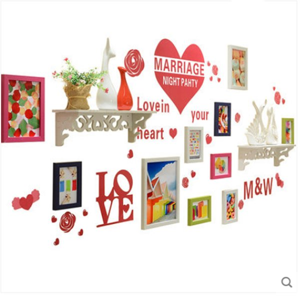 Photo wall a forma di cuore Photo frame set decorazione della parete Combinazione siamese Set di cornici