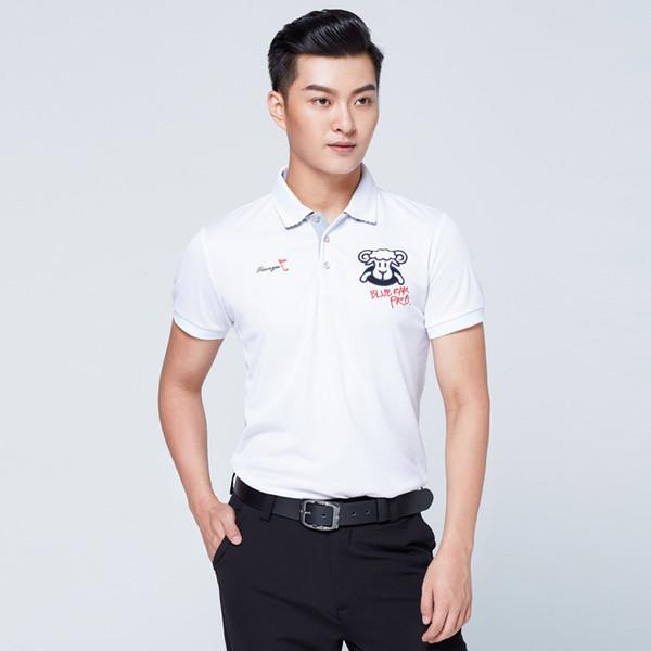 Mens Golf Trainning Chemises À Manches Courtes T-shirt Casual Avec Des Boutons Respirant Fit Sec Eté Fitness Tops D0663
