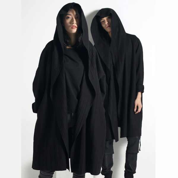 Men/'s Gothic Black Batwing Sleeve Cloak Hooded Coat Trench Loose Outwear Casual