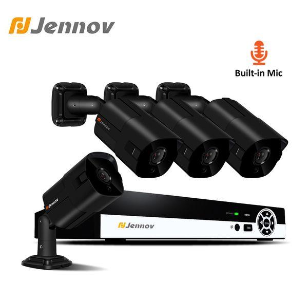 Jennov 4CH HD 2MP Audio Record Camera Video Surveillance POE Outdoor Night Vision Home Security Camera System CCTV NVR Set IP