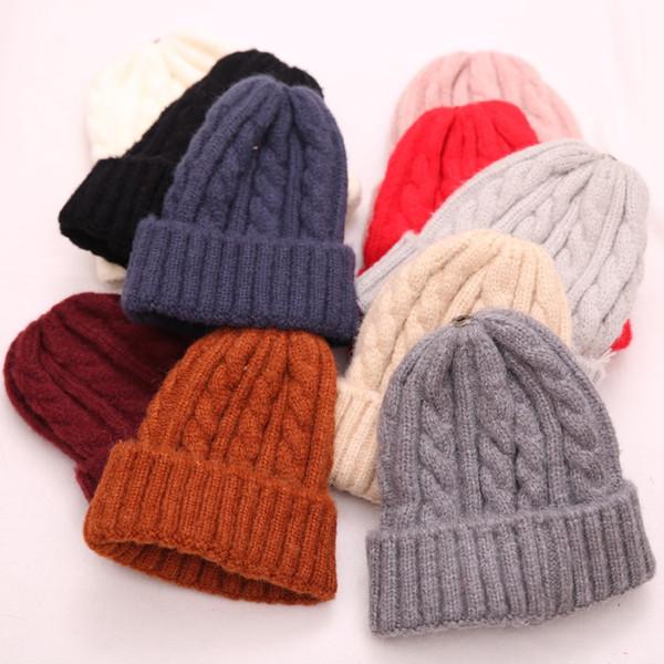 Männer Frauen einfarbig Wolle Strickmützen Herbst Winter warm baby cute Hüte 10 Farben für wählen Top-Qualität