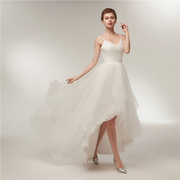 2019 Cheap Tulle Wedding Dress Bridal Gown Spaghetti Straps Front Short Long Back Pleats Bride Dress For Wedding