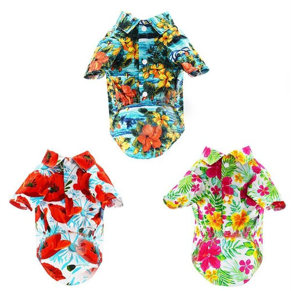 New Arrival Summer Pet Dog Clothes Teddy Hawaii Printing Shirt Puppy Beach Clothes Short Sleeve Dog Vest T-shirt Pet Supplies