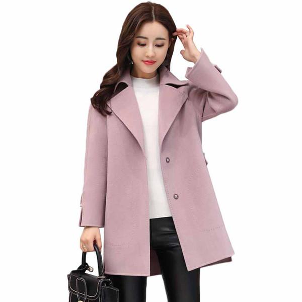 2019 New Women Woolen Coat Autumn Winter Jacket Solid Loose Long Sleeve Belt Outerwear Cashmere Wool Coat Female Basic Coats 353