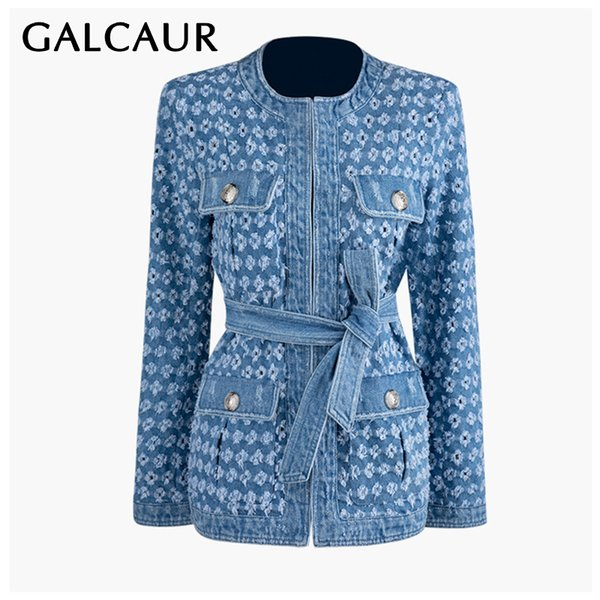 galcaur autumn denim streetwear female coat o neck long sleeve pocket hollow out lace up coats for women fashion new 2019